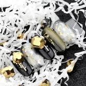 美甲254金屬鏡面鑽朋克風暗黑繫指甲尖底鑽槍黑鏡面金異形鑽 莎瓦迪卡
