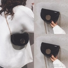 網紅小黑包包女新款韓版時尚百搭質感復古鍊條斜挎馬鞍包 布衣潮人
