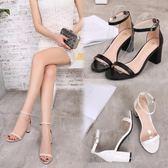 2018夏季新款女鞋黑色洋裝簡約百搭一字扣帶中跟粗跟羅馬涼鞋【萬聖節8折】