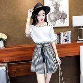 網紅套裝女夏2018新款韓版一字肩吊帶上衣高腰格子闊腿短褲兩件套