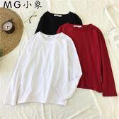 韓版純色寬鬆長袖t恤