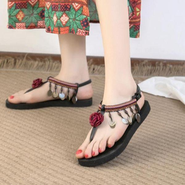 平底涼鞋 波西米亞涼鞋女夏季平底百搭時尚仙女鞋新款民族風度假沙灘鞋 曼慕衣櫃