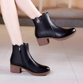 粗跟短靴女 馬丁靴 加絨矮靴英倫風大碼女靴瘦瘦粗跟中跟小短靴韓版女鞋子【多多鞋包店】ds3819