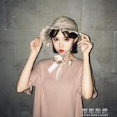 韓國夏漁夫帽女小清新休閒百搭日繫學生繫帶甜美可愛盆帽 交換禮物