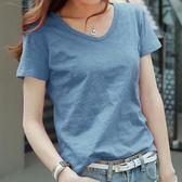 夏季韓范竹節棉t恤女短袖寬松純棉v領半袖體恤汗衫純色大碼上衣服『新佰數位屋』