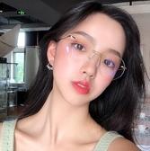 眼鏡框 網紅推薦款無框切邊超輕眼鏡女潮氣質鏡架成品配鏡眼睛 - 雙十二交換禮物