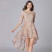 中大尺碼洋裝 小禮服蕾絲名媛不規則中長款連衣裙 L-5XL #yz16143 ❤卡樂❤