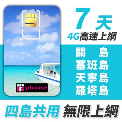 【TPHONE上網專家】關島/塞班島/天寧島/羅塔島 7天無限上網 一卡在手 4島共用 贈送當地無限通話