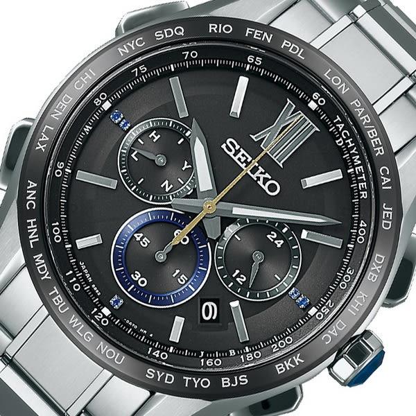 【台南 時代鐘錶 SEIKO】精工 Brightz 太陽能電波腕錶 SAGA225J@8B92-0AS0D 黑/銀 43mm