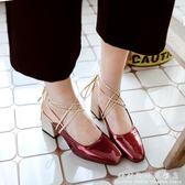 綁帶涼鞋 夏季新款粗跟高跟鞋女方頭漆皮淺口半拖鞋交叉綁帶中跟涼鞋潮 科炫數位