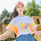 女童短袖T恤夏季2021新款兒童洋氣夏裝中大童女裝寬鬆半袖上衣潮 幸福第一站