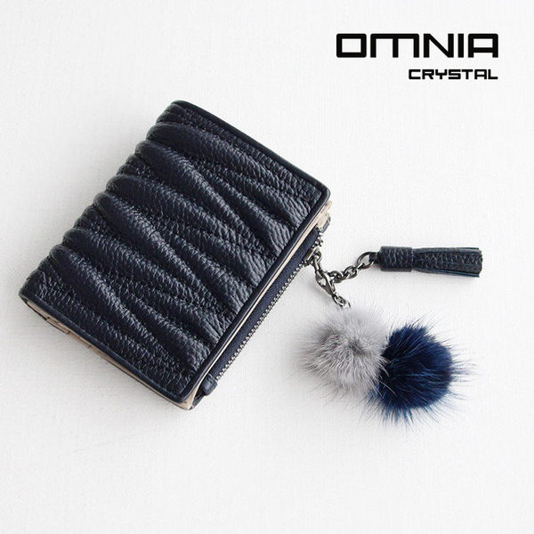 【韓國直送】錢包 韓國OMNIA 優雅皺紋毛球真皮短夾 皮夾 NO.3262B
