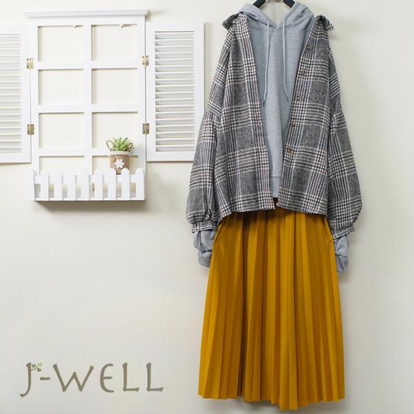 J-WELL 落肩格紋襯衫純棉連帽T壓褶裙三件組(組合A661 9J1024藍+9J1118灰+9J1094黃)