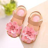 韓版女童涼鞋包頭花朵公主鞋小童學步鞋寶寶鞋沙灘鞋新款