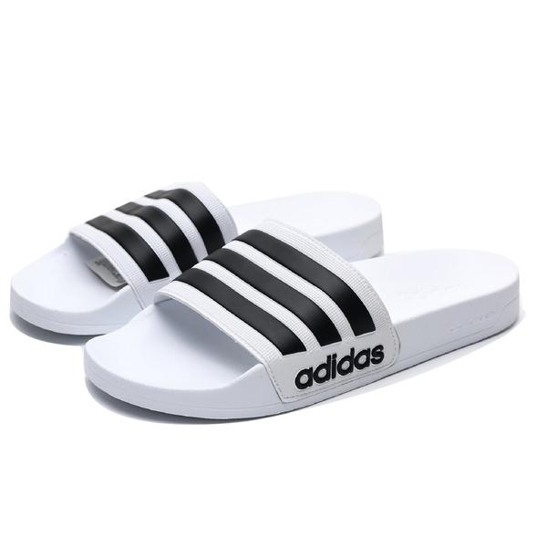 ADIDAS ADILETTE SHOWER 白 黑 運動拖鞋 男鞋 女鞋 涼拖鞋 舒適好穿 (布魯克林) AQ1702