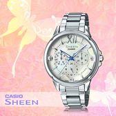 CASIO 手錶專賣店 CASIO SHE-3056D-7A 時尚三眼女錶 不鏽鋼錶帶 切割玻璃 礦物玻璃
