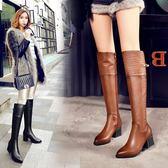 丁果、真皮大尺碼女鞋34-42►歐美明星款頭層牛皮中跟長靴子*2色