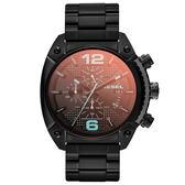DIESEL 機械型男個性三環時尚腕錶(鋼帶-黑)
