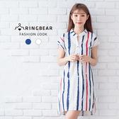 連身洋裝--個性風V領修飾輕柔涼爽條紋俐落短袖洋裝(白.藍M-3L)-D478眼圈熊中大尺碼