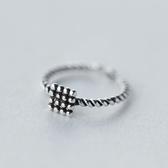戒指 925純銀-復古方形生日情人節禮物女開口戒73dt569【時尚巴黎】