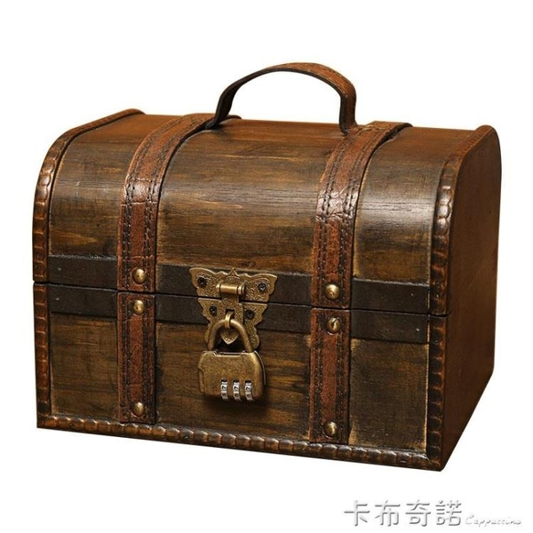 大號創意復古木盒子桌面收納盒帶鎖收藏木質儲物盒密碼鑰匙小箱子 卡布奇诺