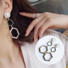幾何六邊形復古珍珠拚鑽耳環 MISS9256