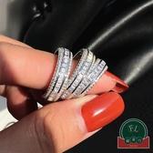 925純銀鑲鉆歐美戒指時尚個性簡約排鉆食指環百搭女【福喜行】