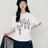 T恤 藝術印花質感五分袖T恤UF0225-創翊韓都