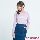 Red House 蕾赫斯-100%羊毛條紋針織上衣(紫色)