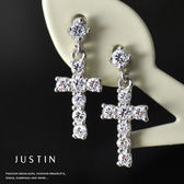Justin金緻品 閃耀十字 K金耳環 正14K金 585K 非鍍金 鑲鑽