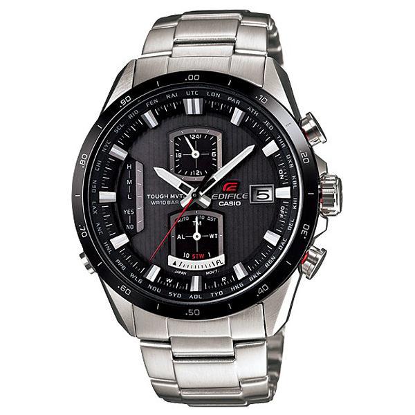 CASIO EDIFICE系列 終極元素太陽能電波運動錶(鋼帶-銀黑)