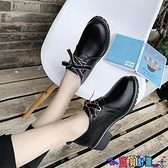 99免運 粗跟鞋 黑色小皮鞋女英倫風2021秋冬新款粗跟加絨日系高跟jk制服工作單鞋 【寶貝計畫】