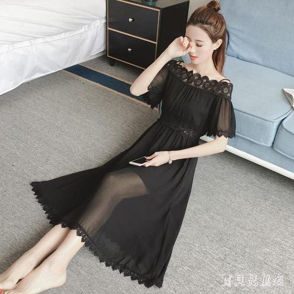 黑色度假沙灘裙蕾絲拼接收腰顯瘦雪紡連身裙一字領吊帶大擺長洋裝 mj13402『寶貝兒童裝』