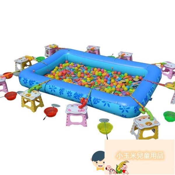 廣場擺攤撈魚磁性釣魚玩具池兒童釣魚池套裝加厚充氣養魚池游泳池