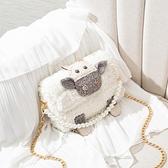 毛毛包 手工包包編織diy材料包自制作送女朋友小羊毛毛包手織縫【快速出貨八折下殺】