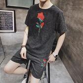 男士休閒運動套裝夏季2018新款韓版修身花短袖兩件套 DN8848【野之旅】
