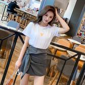 超殺29折 韓系短袖T恤高腰不規則短褲套裝短袖裙裝