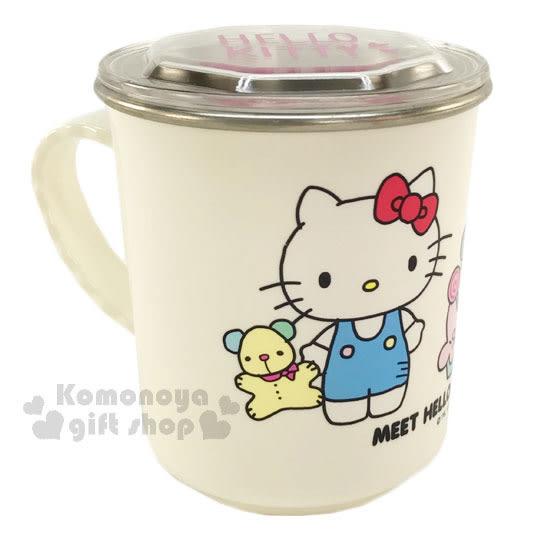 〔小禮堂〕Hello Kitty 附蓋不鏽鋼杯《白.姊妹.小熊.300ml》隔熱不易燙傷 4712977-46355
