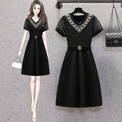 L-5XL胖妹妹大碼洋裝連身裙~胖MM氣質時尚網紗中長款拼接連身裙R030B愛尚布衣