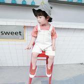 童裝男女寶寶背帶褲夏季1-3-4歲男童單寧牛仔背帶短褲兒童白色褲子外