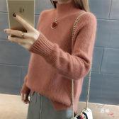 2018秋冬新品加厚毛衣女裝正韓寬鬆半高領素面毛線衣打底衫針織衫 全館免運