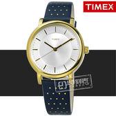 TIMEX 天美時 / TXTW2R27600 / 美國指標復古典雅圓點造型真皮手錶 銀白x金框x藍 38mm