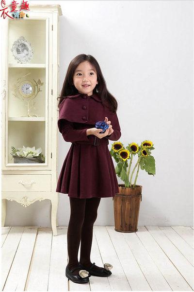 衣童趣 ♥韓版氣質小香風 披肩連身裙 兩件式 可愛甜美洋裝 【現貨】