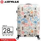 AIRWALK 環郵世界 行李箱 28吋 白色 精彩歷程 拉鍊硬殼行李箱 A615371501 MyBag得意時袋