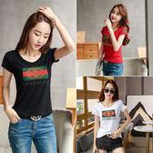 (工廠直銷不退換)新款韓版純棉大碼T恤女短袖夏季修身顯瘦百搭燙鉆體恤女8670 #F-1F019韓依戀