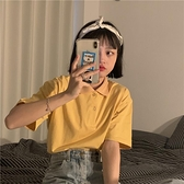 polo衫 2020夏裝新款韓版純棉純色翻領polo衫學院風寬鬆短袖T恤女ins
