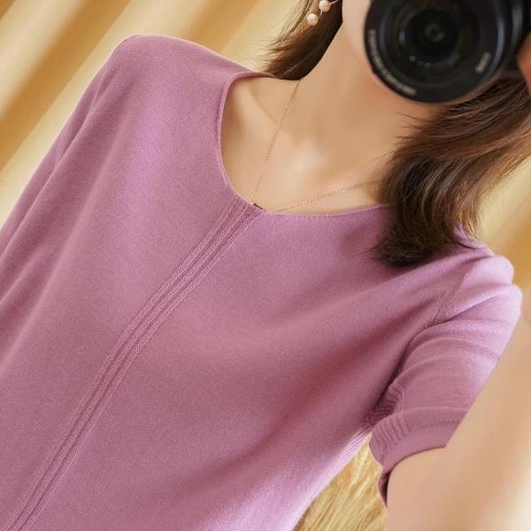 棉麻上衣 夏裝新款v領棉麻針織短袖寬鬆半袖100%純棉t恤女休閒上衣薄-Ballet朵朵