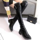 一件免運-過膝靴子女長靴秋冬季2019新款高筒靴平底粗跟彈力靴瘦瘦長筒靴女