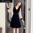 長袖洋裝 高檔名媛輕奢氣質性感顯瘦小禮服新款秋裝法式復古絲絨連身裙