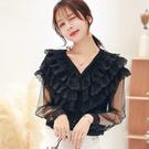 VK精品服飾 韓國風優雅層次感蕾絲拼接網紗百搭長袖上衣